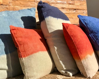 Lot 5 pillows Tie & Dye China, Ocean, Navy, Orange and Tangerine