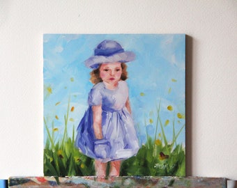 Little girl with hat, original oil painting, figurative painting, Christmas gift