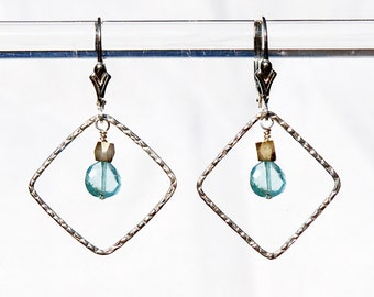 Blue Apatite earrings / Aqua and Silver earrings / Blue Apatite jewelry / Aqua gemstone jewelry / Blue earrings / Blue gemstone jewelry
