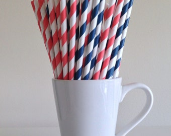 Coral and Navy Blue Striped Paper Straws Party Supplies Party Decor Bar Cart Cake Pop Sticks Mason Jar Straws  Party Graduation
