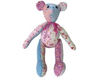 Patchwork Teddy Bear or Memory Bear PDF Pattern Easy Bear pattern Soft toy PDF Plushie pattern Teddy Bear pattern Patchwork Bear pattern