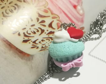 Cupcake Necklace Color Green water hand molded with steel chain, gift for you, handcrafted jewel