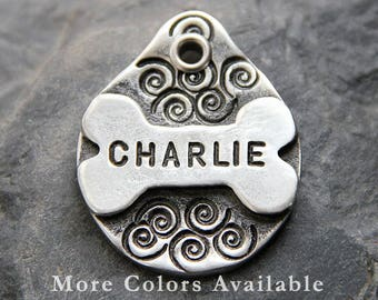 Bone Dog Tag Personalized Pet ID Tag - Dog Gift for Pet - Dog Lover Gift - Unique Dog Tags - Custom Dog Tag