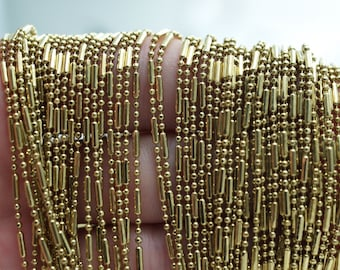 Solid Brass Ball Chain, 10 Meters - 33 Feet (1.5mm) Solid Brass Chain With 20 Connectors - Brs 1  ( Z040 )