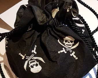 Pirate pompadour drawstring pouch skull and crossbones handbag black and white