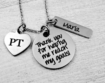 Physical Therapist Gift Necklace, Thank You Gift, Physical Therapy, Therapist Gift, Therapist Jewelry, Custom Physical Therapist, PT, DPT.