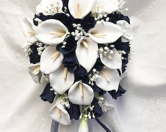 Royal Blue & White Cascade Bridal Bouquet with Baby Breath Accents ~ Gorgeous Quality Real Touch Roses Calla Lilies Silk Wedding Flowers