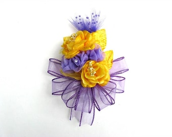 Yellow and lavender wearable corsage, Corsage for women, Bridal shower corsage, Prom corsage, Unique floral gift, Anniversary corsage