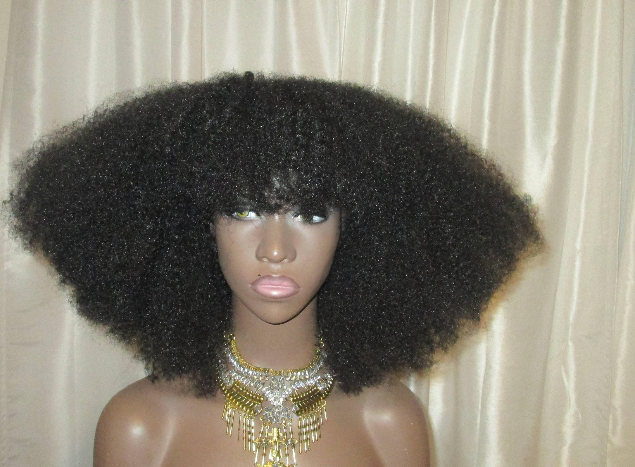Essence Wigs Gorgeous 4c Bangs Afro Kink Bohemian Vibe Fro