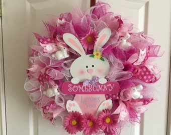 Spring bunny of love mesh wreath