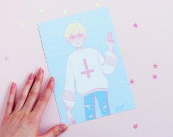 Ryo Devilman Crybaby Fashion Illustration A5 print, Geeniejay, Anime, Akira, Pastel, Satan, Cute, Kawaii