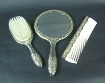 Silver Plated Vanity Set Vintage Ornate Floral Hand Mirror Brush Comb Set