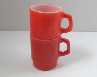 Vintage Anchor Hocking Red Oven Proof Stacking Mugs Cups