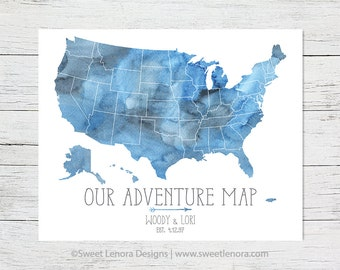 Push Pin 50 States Our Adventure USA Map Watercolor Foam Travel   16x20  18x24 24x36 Personalized Custom Wedding Anniversary Valentine Gift