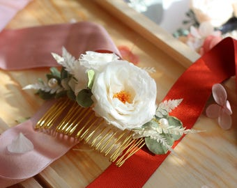 Pale white camellia japonica preserved flower hair comb