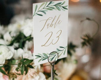 Greenery Table Number Template, Printable Wedding Table Number, Garden Wedding Table | Edit in Word or Pages