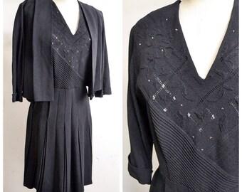 1940s Black crepe beaded dress & jacket set / 40s pleated evening dress suit - L