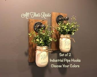Applique murale industrielle, décoration murale pot Mason, Mason Jar applique, Mason Jar Decor, décoration rustique, décor industriel, suspendus applique murale