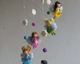 Needle felted waldorf inspired mobile - Fairies