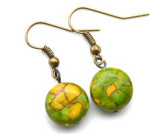 Green Mosaic Turquoise Rounds . Earrings