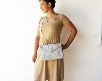 Vintage White Leather Bag / Weaved Leather Bag