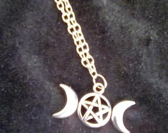 Triple Moon Pendant and chain/thong