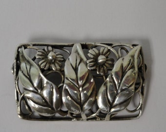 Antique Vintage Sterling Silver Flower Pin Brooch Circa 1941