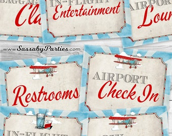 Vintage Airplane Posters Signs - INSTANT DOWNLOAD - 10x Printable Party Airport, Departures, Arrivals, Baggage Check by Sassaby Parties
