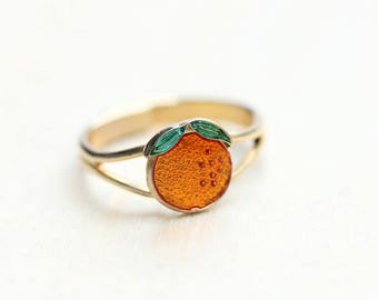 Orangenfrucht Ring, Orange Ring, Obst-Ring, Emaille-Ring, kleinen Ring, Pinky Ring