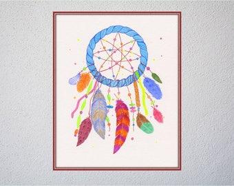 Dream catcher wall art, dreamcatcher printable, nursery print, native American Indian art, nursery kids room decor, digital file