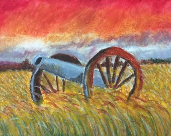 Original oil pastel landscape drawing