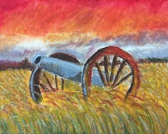 Original oil pastel landscape drawing