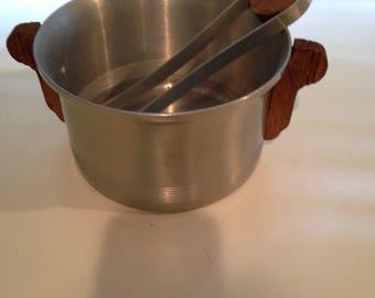Midcentury Westbend aluminum ice bucket and tongs
