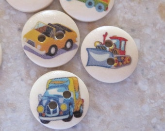 Cars Trucks Planes Transportation Wood Buttons Mixed Lot of 10