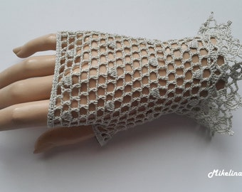 Crochet Mittens, Fingerless Gloves,Sharkskin Colour,Light Grey, 100% Mercerized Cotton.