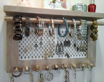 Jewelry Organizer Wall Mount Necklace Bracelet Ring Earring Holder. All In  One Wall Hanging Jewelry