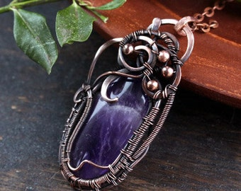 Heady wire wrap Amethyst pendant Wire wrapped Copper jewelry  February birthstone gift seventh anniversary Gift for her