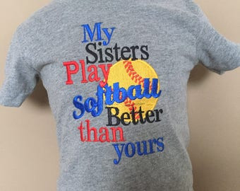 Personalized My sisters play Softball better than yours Shirt