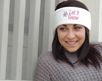 Let it snow fleece ear warmer, fleece headband, stocking stuffer, christmas gift, gift for her, winter hat, snow hat, headband, yoga heaband
