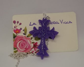 Resin creation-Gothic cross purple necklace-available different colors on request-violet Gothic cross necklace