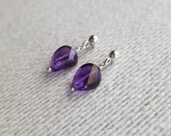 Amethyst Earrings / Amethyst / Earrings / Stud Earrings / Sterling Silver / Gift For Her / Minimalist / Purple