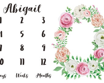Girl Milestone Fabric in Blush Rose Watercolor Floral / Personalized Name Fabric / Photo Prop Fabric / Calendar Fabric / Newborn First Year