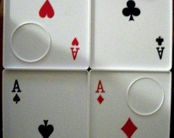 Set of 4 Playing Card 'Aces' Drink and Snack Trays
