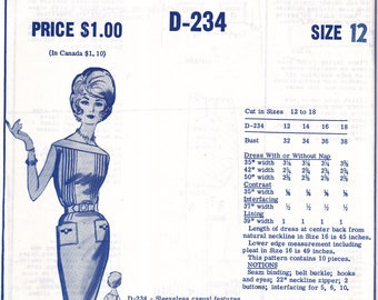 MODES ROYALE D-234 Sheath Dress with Bodice Tucks 1950s/60s - cut/used pattern