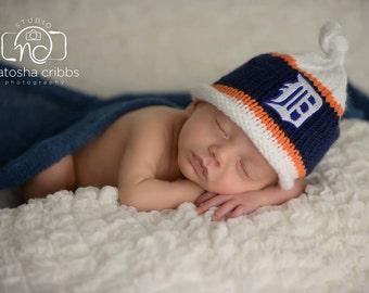 Detroit Tigers Newborn Baby Hat, Detroit Tiger Baby Hat, Newborn Photo Prop, Baby Boy Hat, Baby Gitl Hat, Baby Knit Hat, Baby Beanie