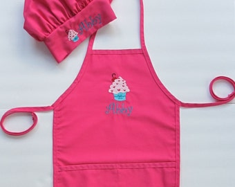 Personalized Kid's Apron AND Chef Hat - Childs Art Apron and Hat - Childrens Personalized Craft Apron and Chef Hat - Cupcake