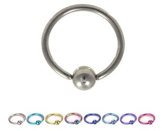 "Titanium Nose Ring, Captive Bead Hoop, Daith, Helix, Cartilage 1/4"" 5/16"" 18G"