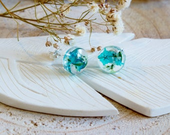 Turquoise Flower Earrings, Real Flower Earrings, Gifts for Her, Mothers Day, Wildflower Jewelry, Botanical Jewellery