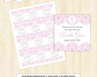 Pink favor tags girl baptism favor tags girl stickers printable bautizo communion favor pink stickers square pink favor tags printable  170