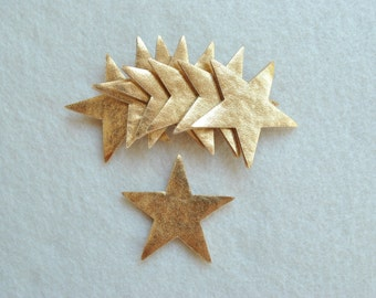 "10 Piece 2"" Die Cut Felt Stars, Metallic Gold"